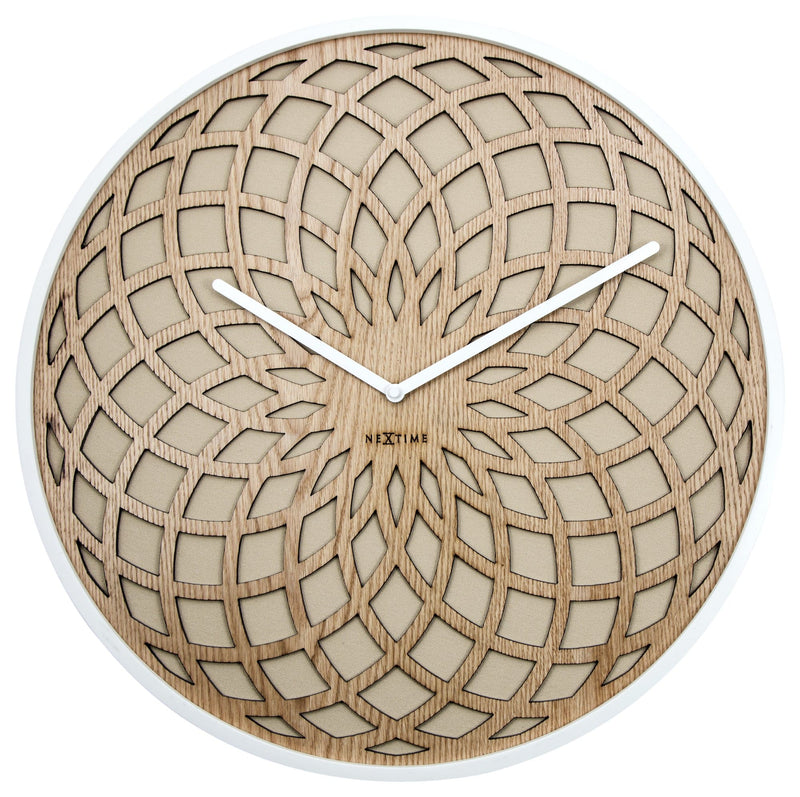 Front Picture 3149BE,Sun Large,Wall clock,Silent,Wood,Beige,