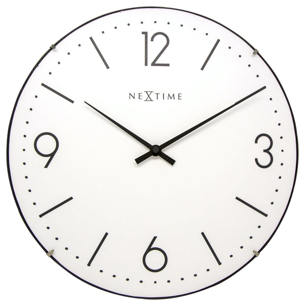 Front Picture 3157WI,Basic Dome,Wall clock,Silent,Glass,White #color_white