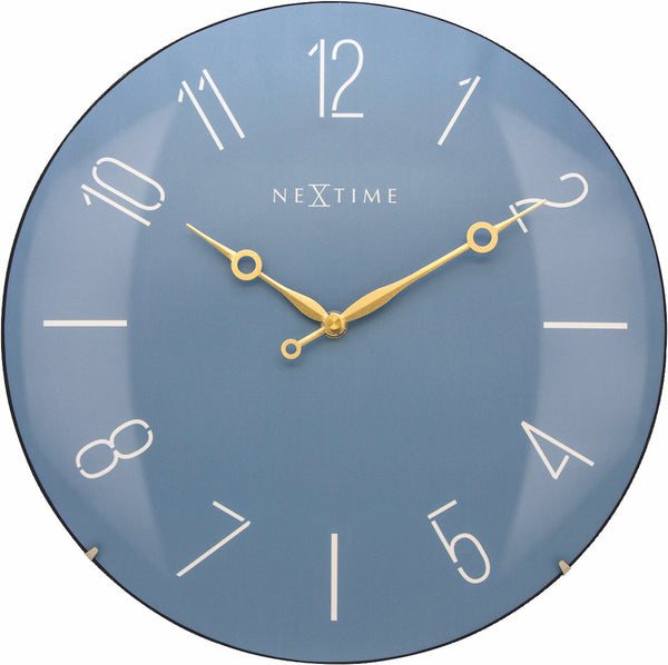 Front Picture 3158BL,Trendy Dome,Wall clock,Silent,Glass,Blue,#color_blue