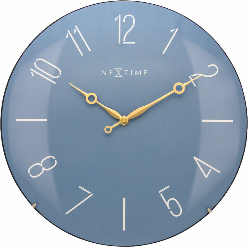 Front Picture 3158BL,Trendy Dome,Wall clock,Silent,Glass,Blue,