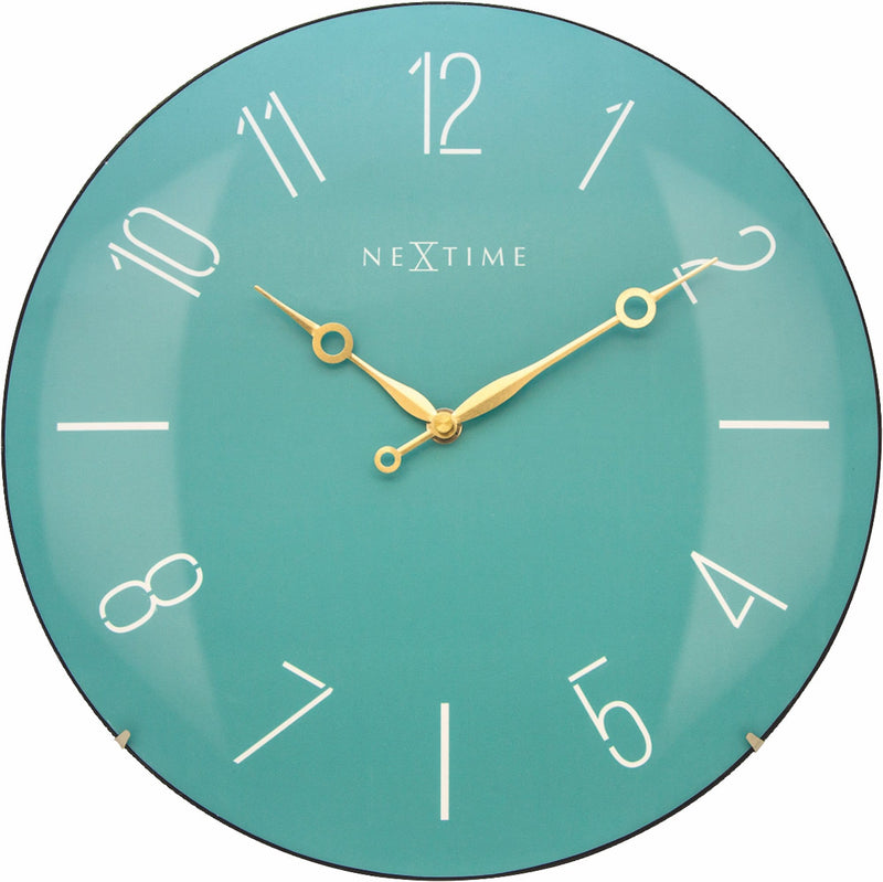 Front Picture 3158TQ,Trendy Dome,Wall clock,Silent,Glass,Turquoise,