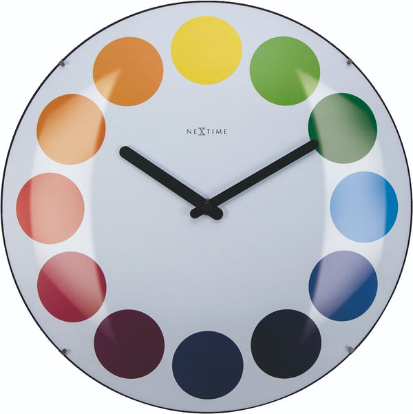 Front Picture 3166,Dots Dome,Wall clock,Silent,Glass,Multicolor,#color_white