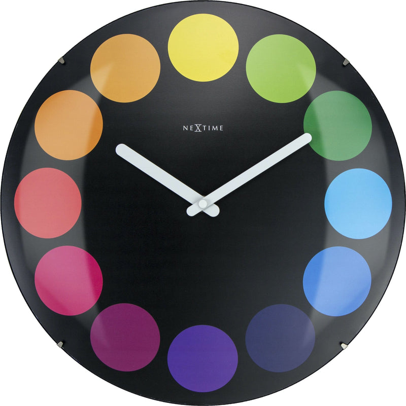 Front Picture 3167,Dots Dome,Wall clock,Silent,Glass,Multicolor,