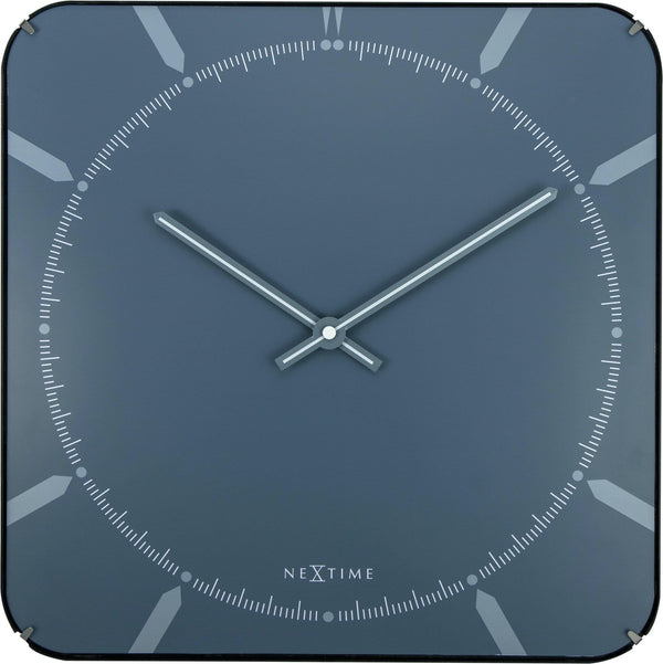 Front Picture 3172,Michael Square Dome,Wall clock,Silent,Glass,Blue,#color_blue