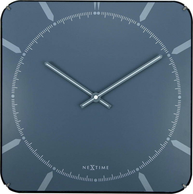 Front Picture 3172,Michael Square Dome,Wall clock,Silent,Glass,Blue,