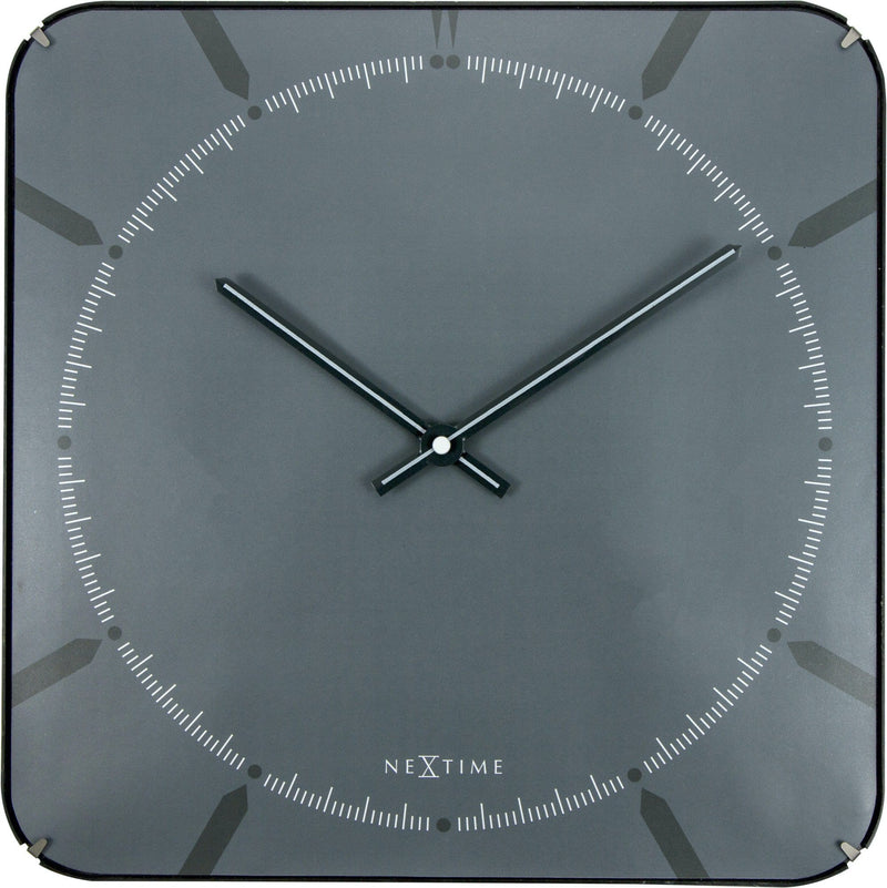 Front Picture 3173,Michael Square Dome,Wall clock,Silent,Glass,Grey,