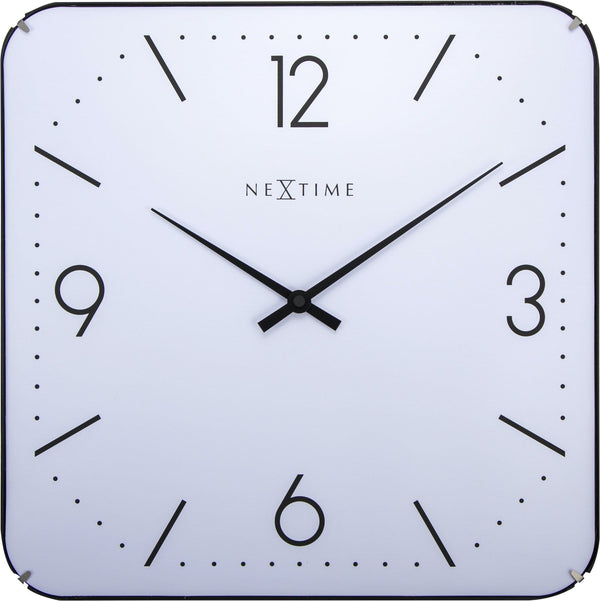 Front Picture 3174,Basic Square Dome,Wall clock,Silent,Glass,White,#color_white