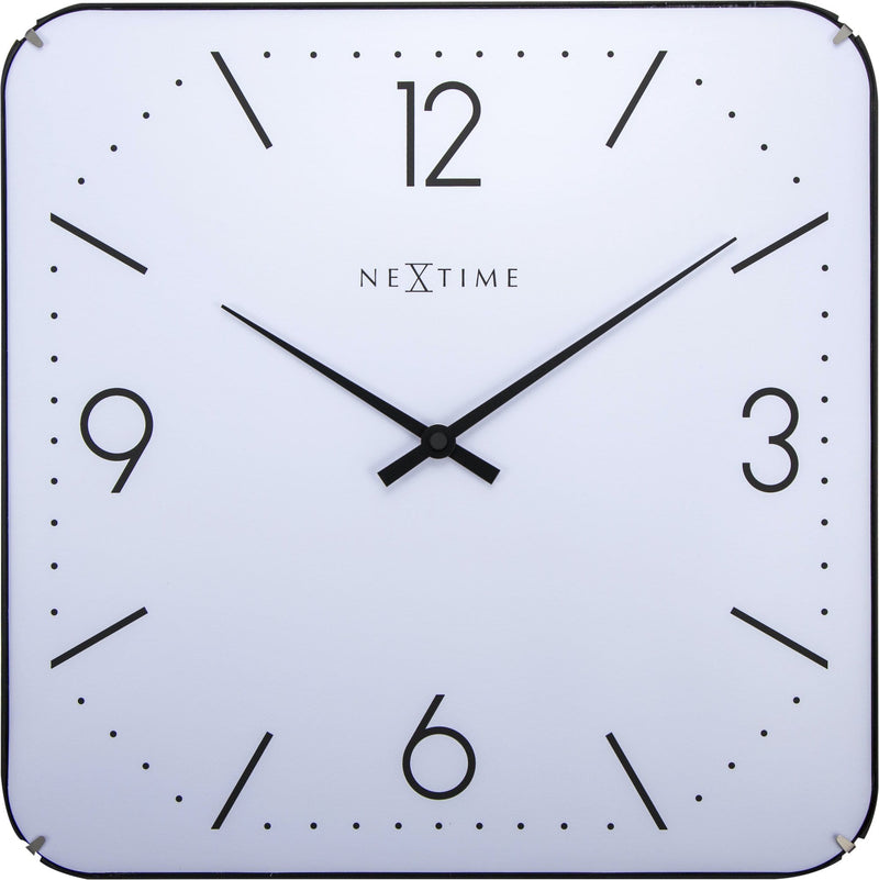 Front Picture 3174,Basic Square Dome,Wall clock,Silent,Glass,White,