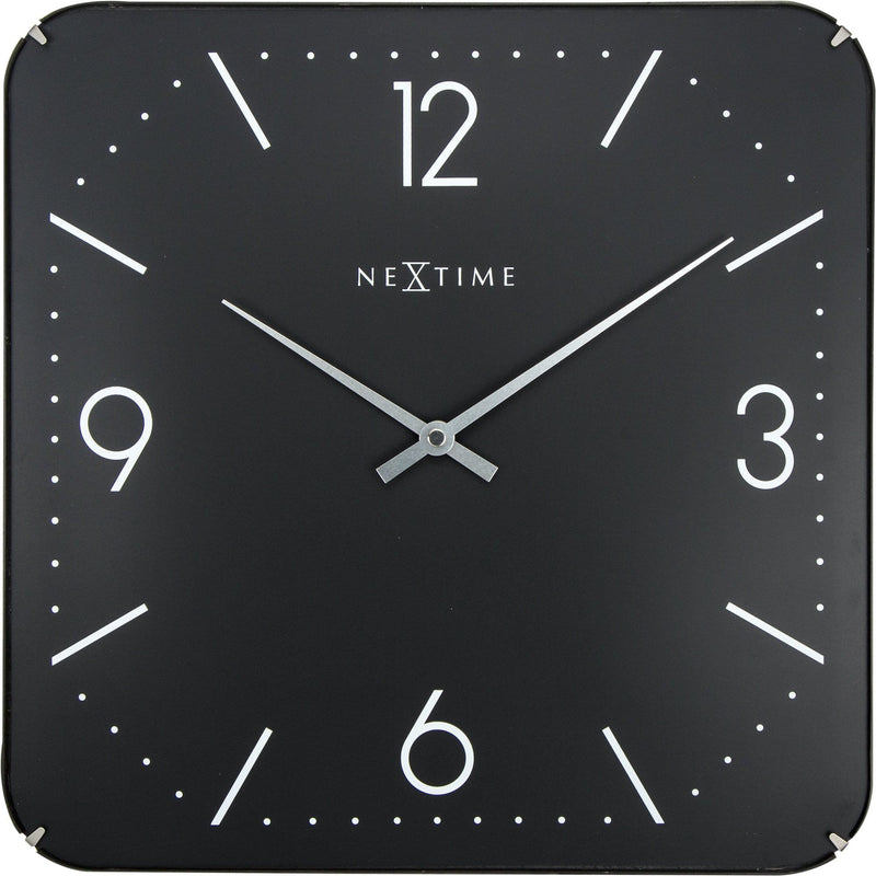 Front Picture 3175,Basic Square Dome,Wall clock,Silent,Glass,Black,