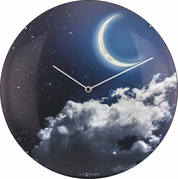 Front Picture 3177,New Moon Dome,Wall clock,Silent,Glass,Luminous