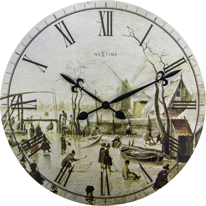 Front Picture 3188,Scene on ice near town,Wall clock,Silent,Wood,Multicolor