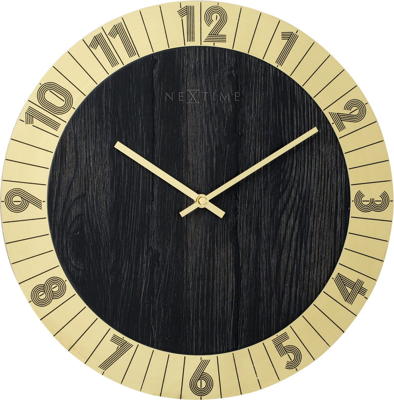 Front Picture 3198GO,Flare,Wall clock,Silent,Wood,Gold
