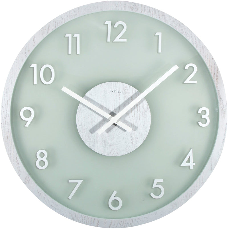 Front Picture 3205WI,Frosted Wood,Wall clock,Silent,Wood,White,