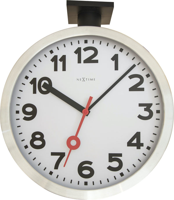 Front Picture 3217,Station Double,Wall clock,Silent,Aluminium,Aluminum