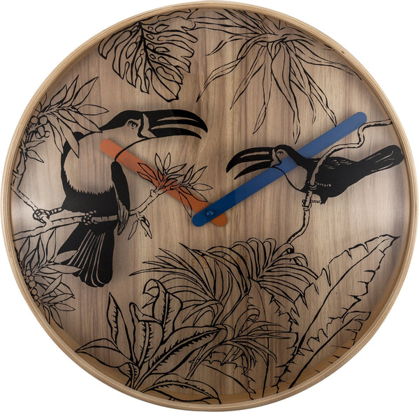 Front Picture 3230,Tropical Birds,Wall clock,Silent,Wood,Wood