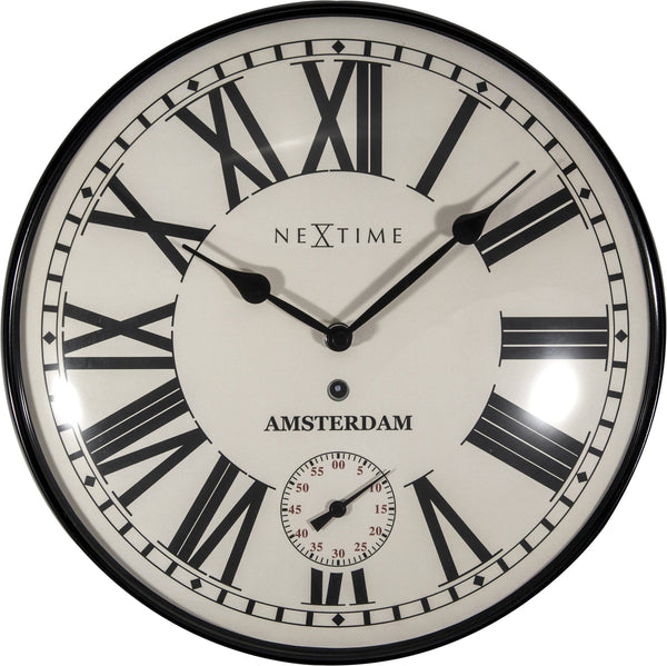 Front Picture 3231,Amsterdam Dome,Wall clock,Silent,Glass,Black