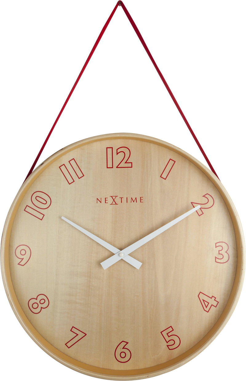 Front Picture 3233RO,Loop Small,Wall clock,Silent,Wood,Red