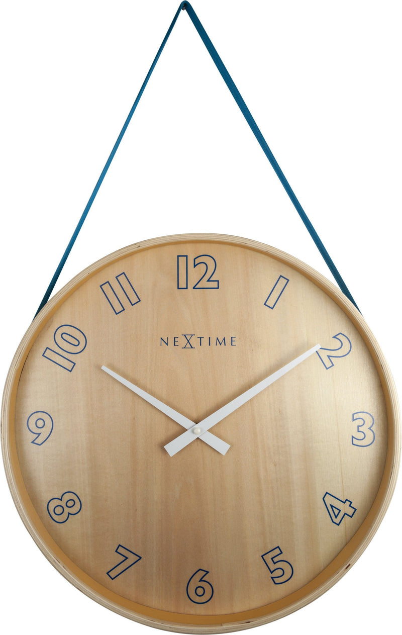 Front Picture 3234BL,Loop Big,Wall clock,Silent,Wood,Blue,