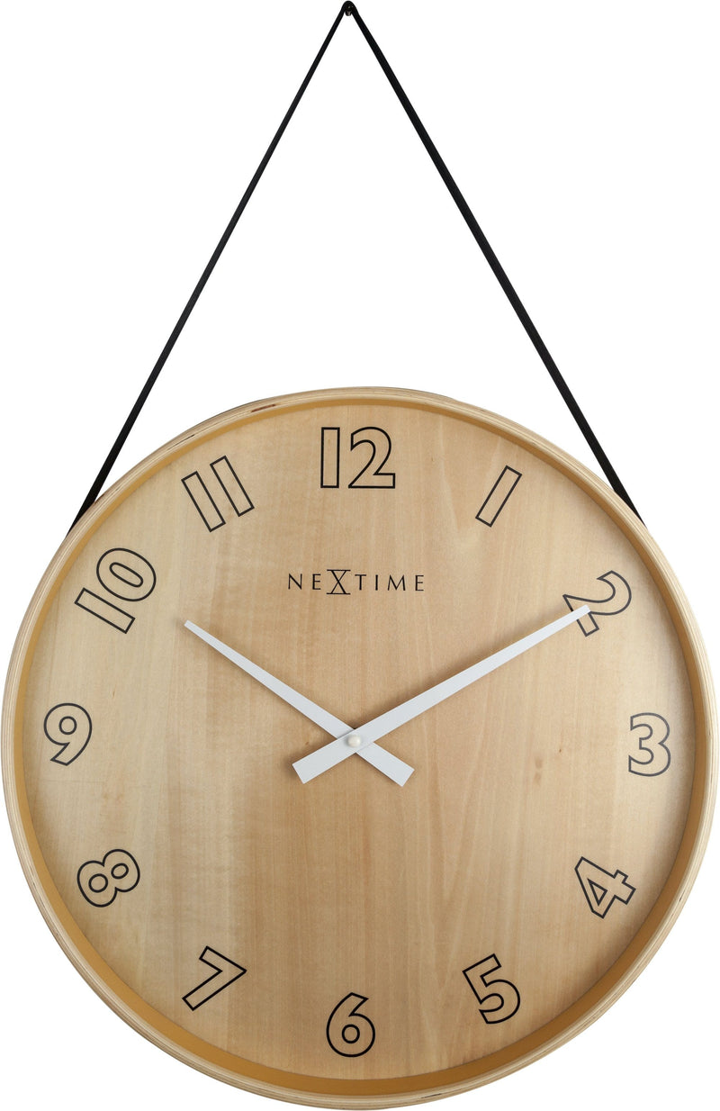 Front Picture 3234ZW,Loop Big,Wall clock,Silent,Wood,Black,