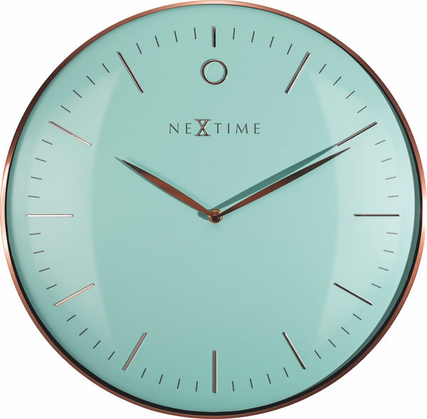 Front Picture 3235TQ,Glamour,Wall clock,Silent,Metal,Turquoise / Rose Gold