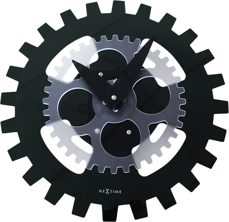 Front Picture 3241ZW,Moving Gears,Wall clock,High Torque,Acrylic,Black,