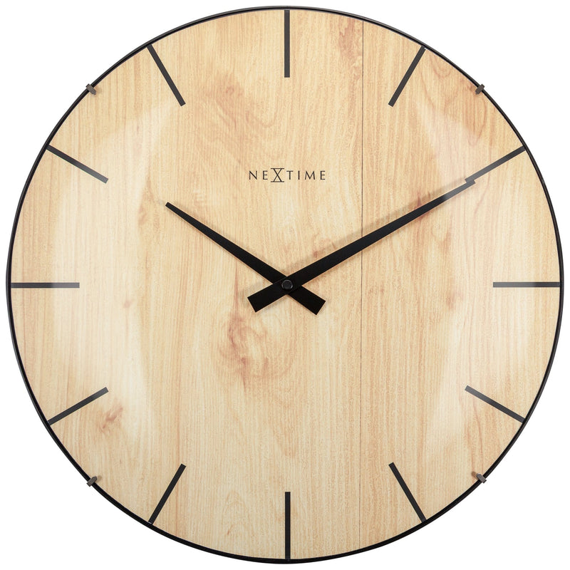 Front Picture 3249,Edge Wood Dome,Wall clock,Glass,Light Brown,