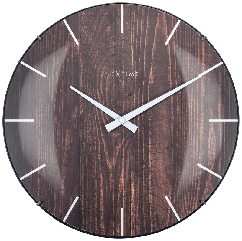 Front Picture 3249BR,Edge Wood Dome,Wall clock,Glass,Brown,