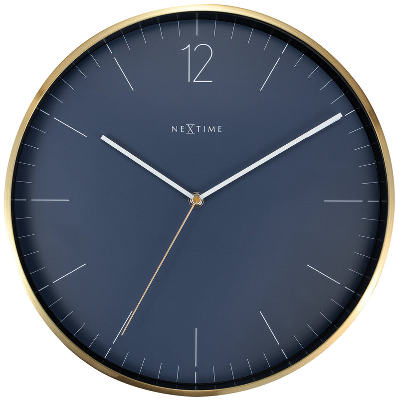 Front Picture 3252BL,Essential Gold,Wall clock,Metal,Blue,