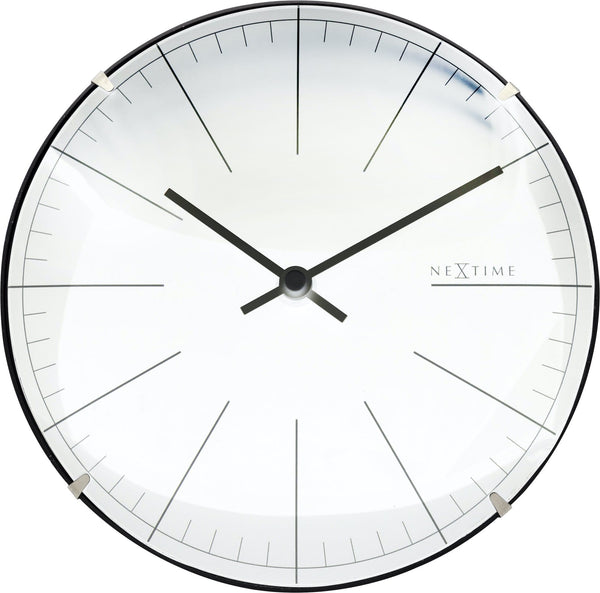 Front Picture 3506WI,Big Stripe Mini Dome,Table/ Wall clock,Silent,Plastic,White,#color_white