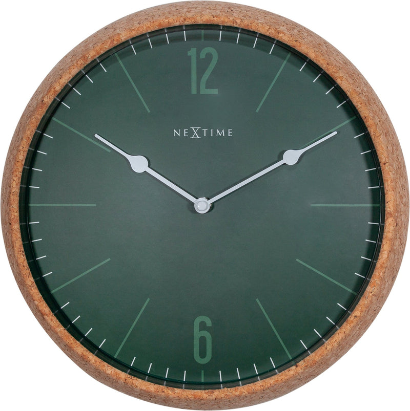 Front Picture 3509GN,Cork,Wall Clock,Silent,Cork,Green,