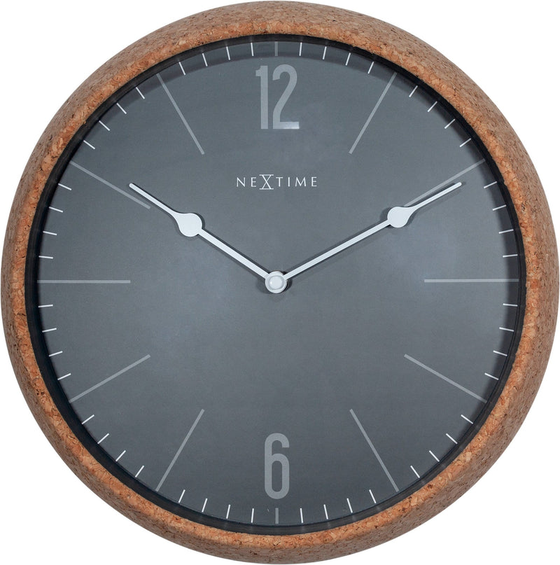 Front Picture 3509GS,Cork,Wall Clock,Silent,Cork,Grey,