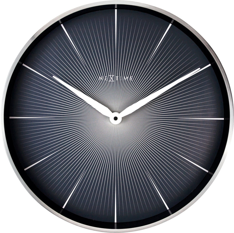 Front Picture 3511ZW,2 Seconds,Wall Clock,Silent,Aluminium,Black,
