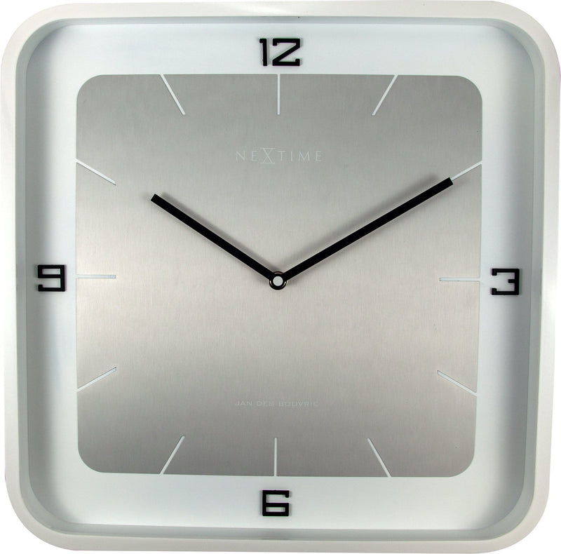 Front Picture 3518WI,Square Wall,Wall clock,Silent,Wood,White