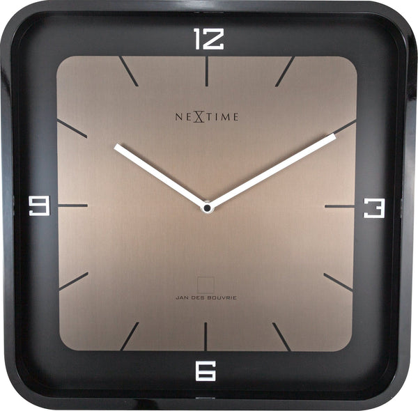 Front Picture 3518ZW,Square Wall,Wall clock,Silent,Wood,Black