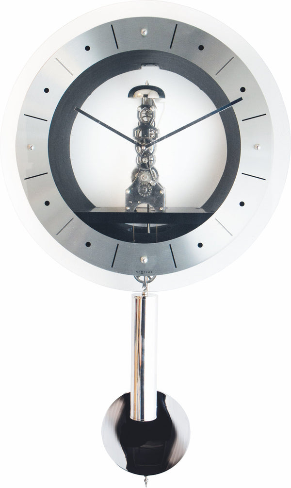 Front Picture 3529,New Beauty,Wall clock,Mechanical,Metal,Silver