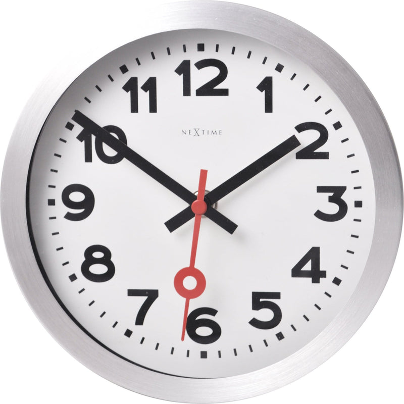 Front Picture 3998AR,Station,Table/ Wall clock,Silent,Aluminium,White,