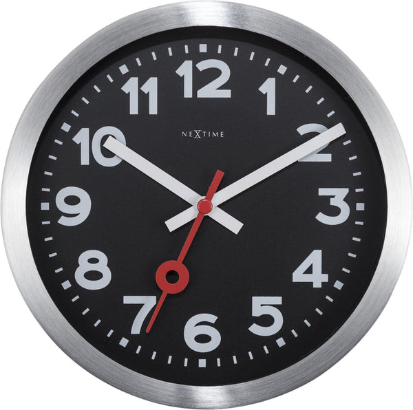 Front Picture 3998ARZW,Station,Table/ Wall clock,Silent,Aluminium,Black,#size_19cm