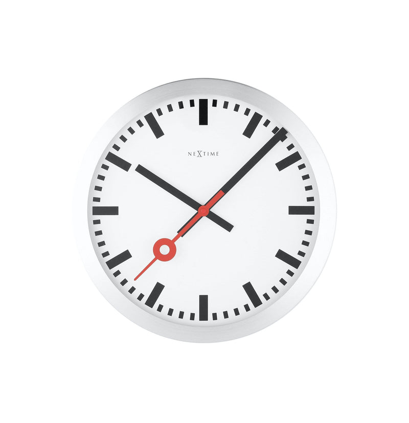 Front Picture 3998ST,Station,Table/ Wall clock,Silent,Aluminium,White,