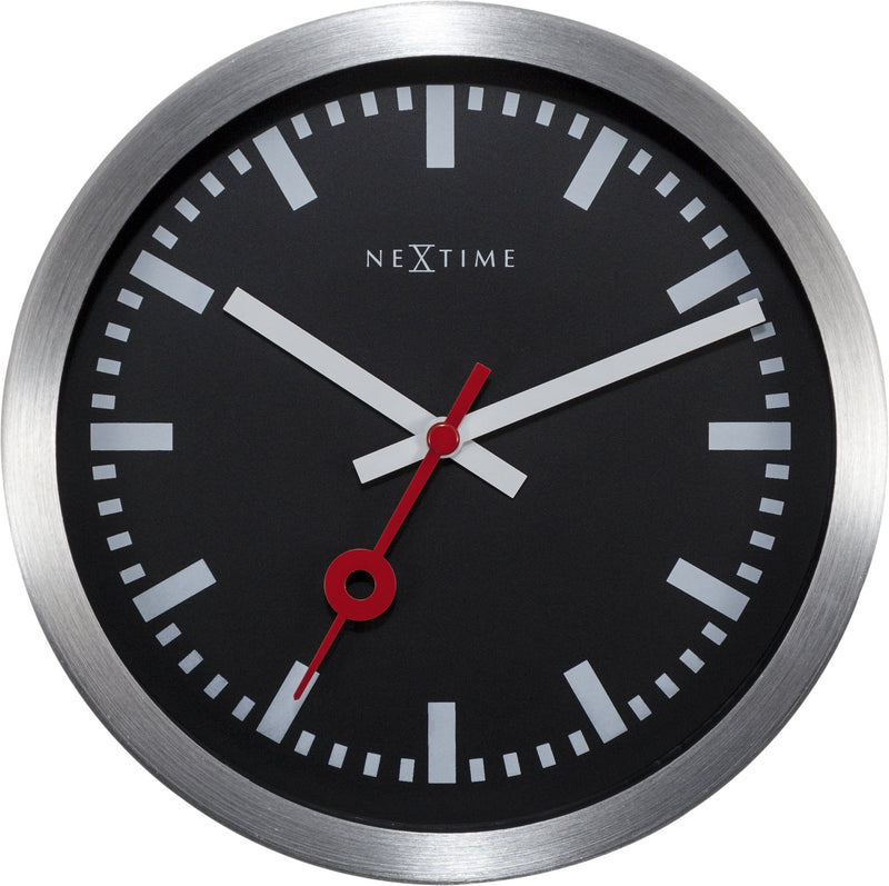 Front Picture 3998STZW,Station,Table/ Wall clock,Silent,Aluminium,Black,