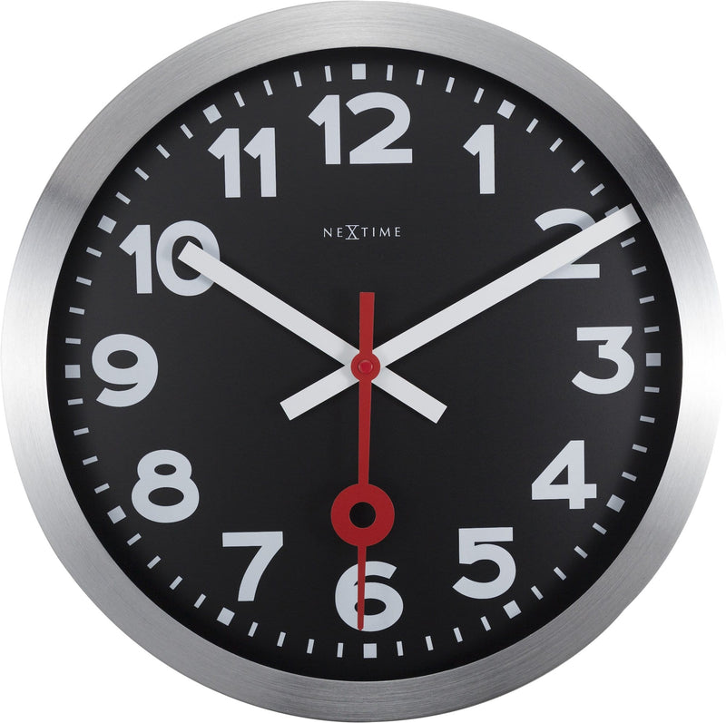 Front Picture 3999ARZW,Station,Wall clock,Silent,Aluminium,Black,