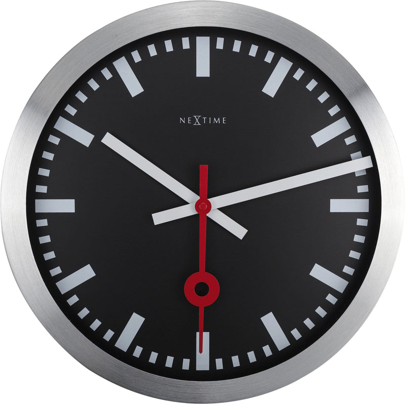 Front Picture 3999STZW,Station,Wall clock,Silent,Aluminium,Black,