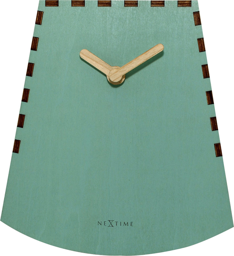 Front Picture 5207TQ,Rocky,Table clock,Silent,Wood,Turquoise,