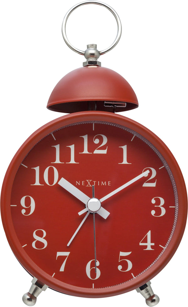 Front Picture 5213RO,Single Bell,Alarm clock,Silent,Metal,Red,#color_red