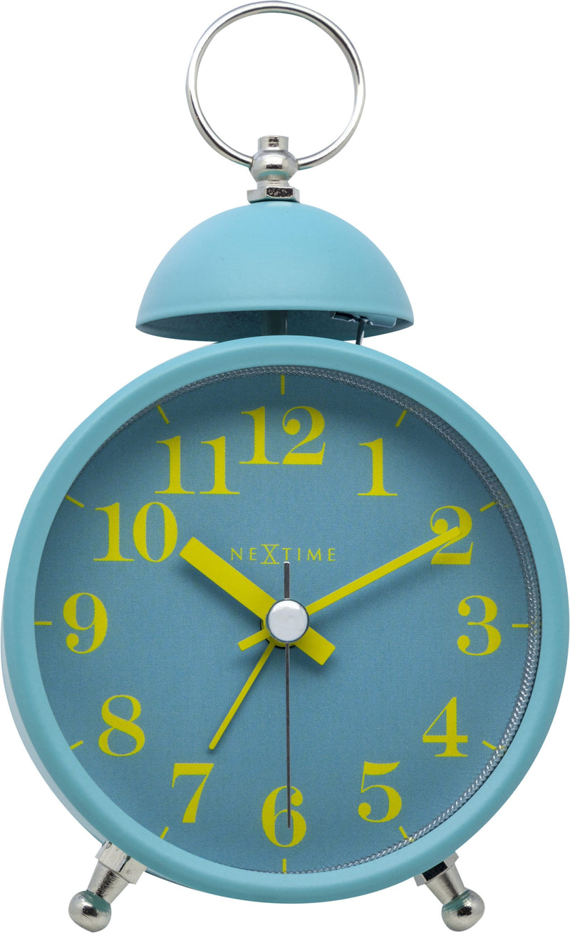 Front Picture 5213TQ,Single Bell,Alarm clock,Silent,Metal,Turquoise,