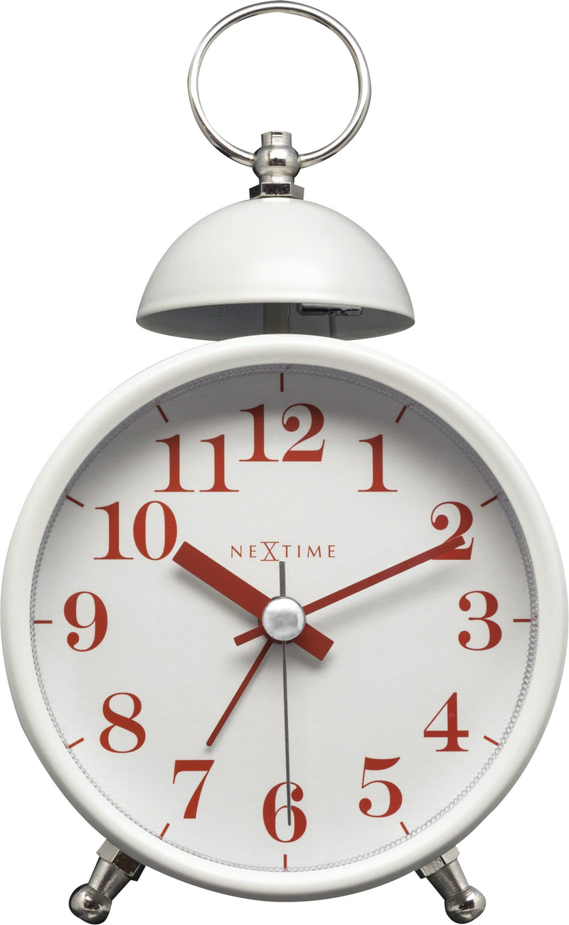 Front Picture 5213WI,Single Bell,Alarm clock,Silent,Metal,White,