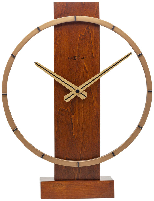 Front Picture 5226BR,Carl Table,Table/ Wall clock,Wood,Brown