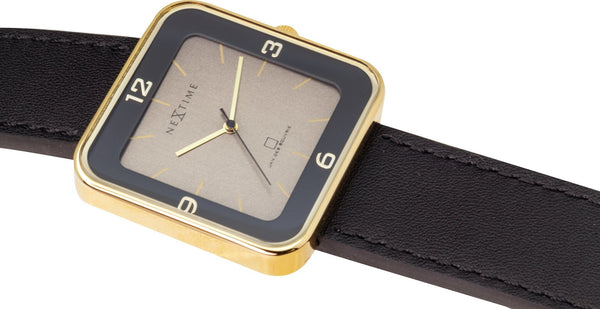 detail 6021GB,Square Wrist,NeXtime,Stainless Steel,Black/Gold