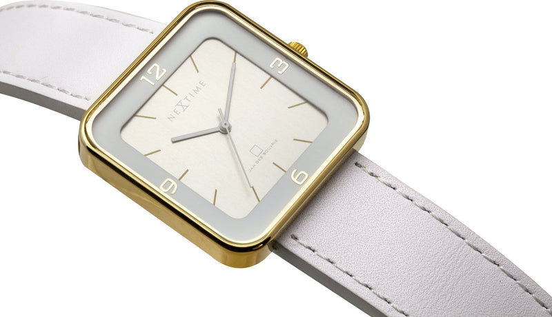 detail 6021GW,Square Wrist,NeXtime,Stainless Steel,White/Gold