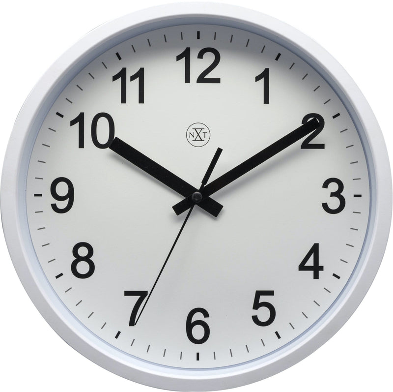 Front Picture 7307WI,Robust,Wall Clock,Step,Plastic,White,