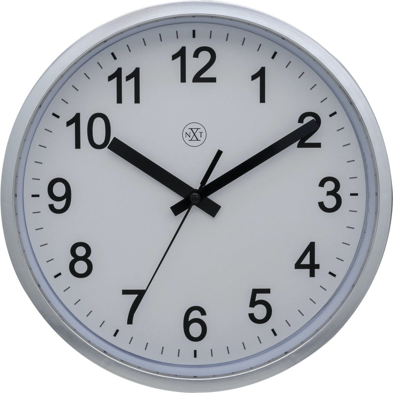 Front Picture 7307ZI,Robust,Wall Clock,Step,Plastic,Brushed Shinny Silver,